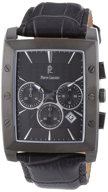 Pierre Lannier 295C488 - Reloj analógico de cuarzo para hombre con correa de piel, color gris