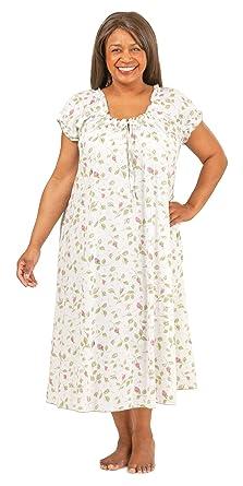 La Cera Plus Size Cotton Cap Sleeve House Dress/Gown in ...