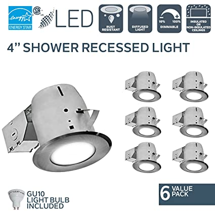 Nadair 4in Shower Recessed Lighting Kit (x6) Dimmable LED Downlight on