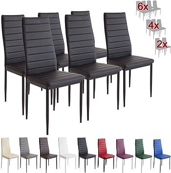 Albatros 2698 Milano Set de 6 sillas de Comedor, Negro: Amazon.es ...