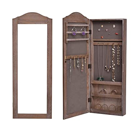 Moon_Daughter Hang Hooks Jewelry Storage Mounted Mirrored Armoire Jewelry  Storage Cabinet Home Room Desige Wall