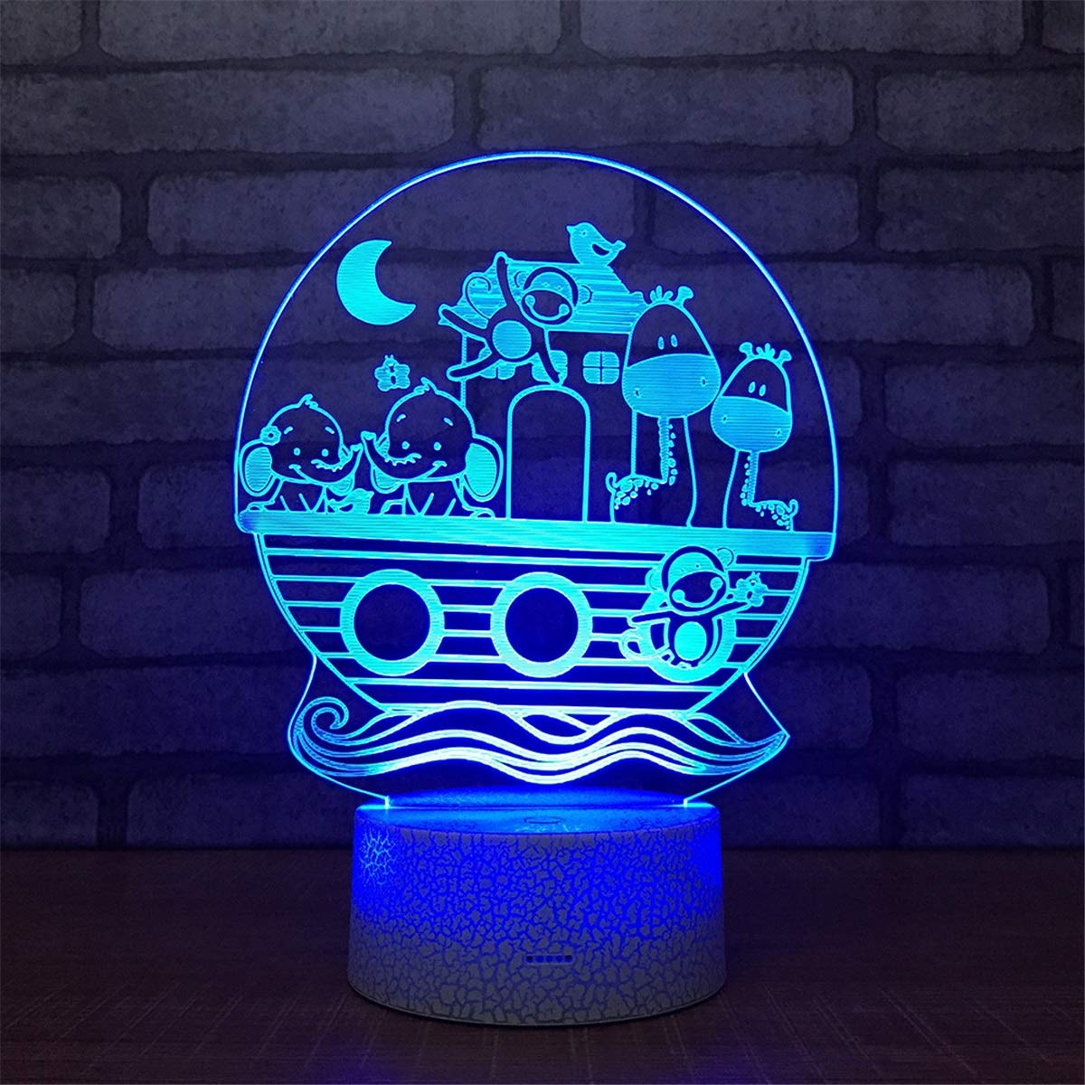 USB Powered Stunning Animal 7 Colors Remote Control Optical Illusion Night Light Crackle Paint Base Table Desk Lamps 3D Glow LED Lamp Art Sculpture Lights Toy for Kids Gifts