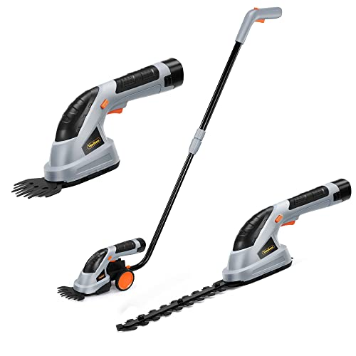 VonHaus 7.2V 2 in 1 Grass and Hedge Trimmer Cordless, Interchangeable Blades, Easy Tool Blade Change, Telescopic Handle & Trolley Wheel Attachments