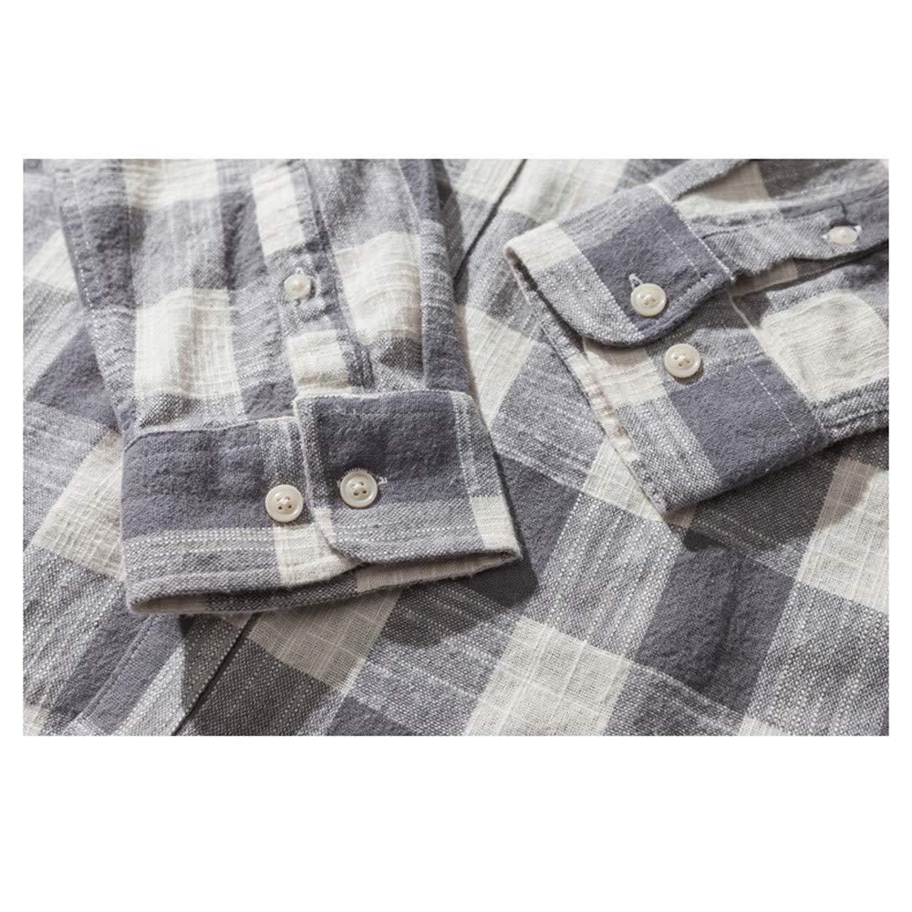 Blusa de Hombre, BaZhaHei, Tops de Manga Larga para Hombre en Cuadros de Hombre del Camisas de Manga Larga de Cuadros de algodón a Cuadros de Moda Casual de ...