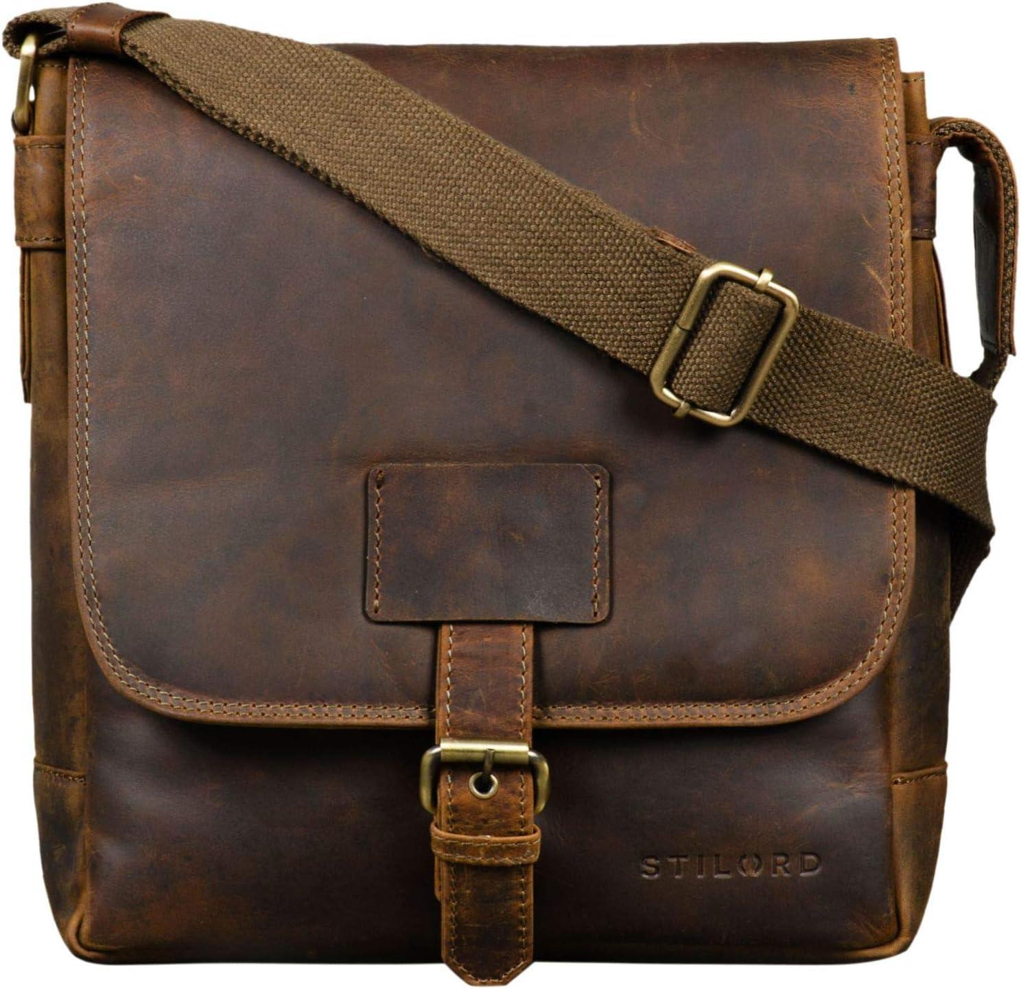 braun STILORD Bennet Messenger Bag Herrentasche Leder zum Umh/ängen Hochwertige Schultertasche f/ür 10.1 Zoll Tablet iPad Echtes Vintage Leder Farbe:dunkel