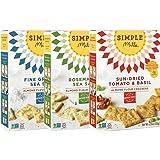 Simple Mills Almond Flour Cracker Variety Pack:, (1) Fine Ground Sea Salt, (1) Rosemary & Sea Salt, (1) Sundried Tomato & Basil, 3 count