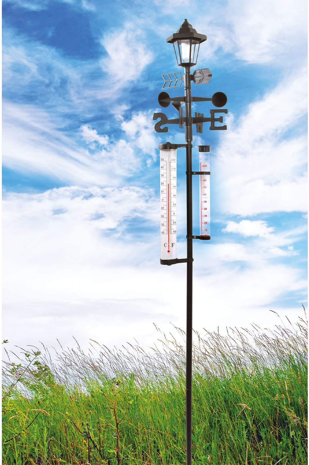 Burwells 5-in-1 Garden Weather Station with Solar Light Keep Track of The Weather Day and Night
