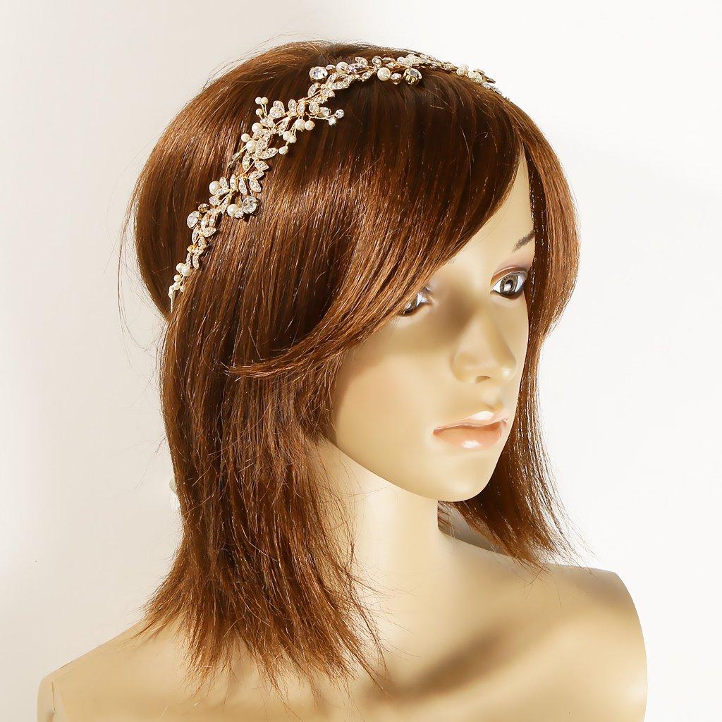 MonkeyJack Romantic Diamante Pearls Leaves Headband Tiara Wedding Bride Prom Headpiece Hair Accessory-Silver//Gold