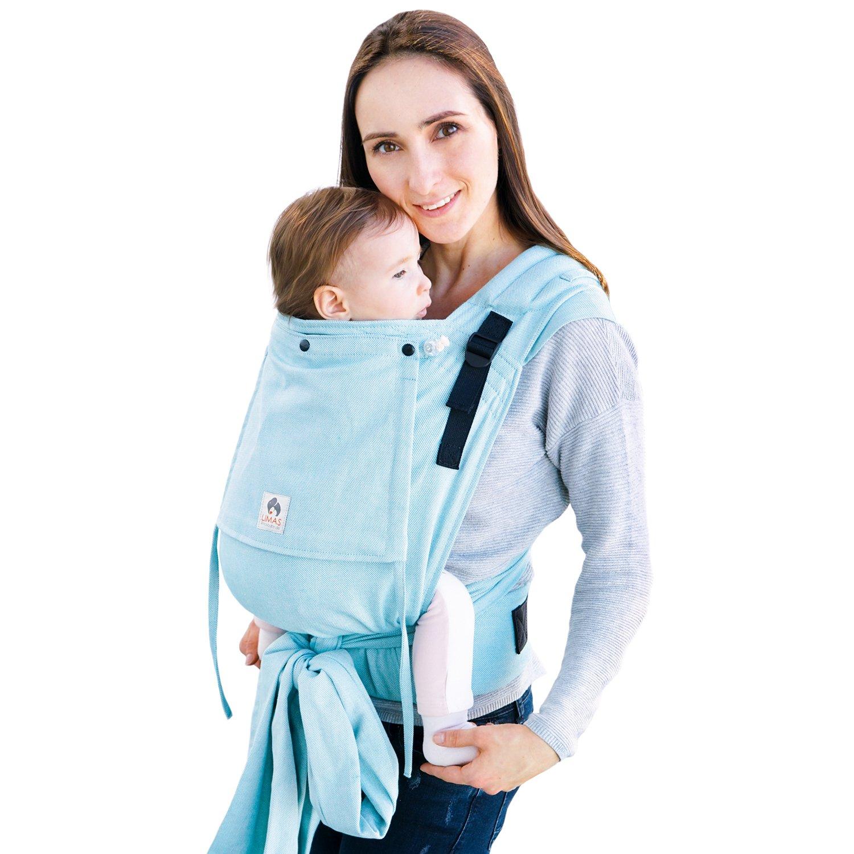 LIMAS Babytrage LIMAS Plus, ergonomische Bauchtrage und Rückentrage, mitwachsend, aus 100% Bio-Baumwolle Tragetuch-Stoff – Türkis