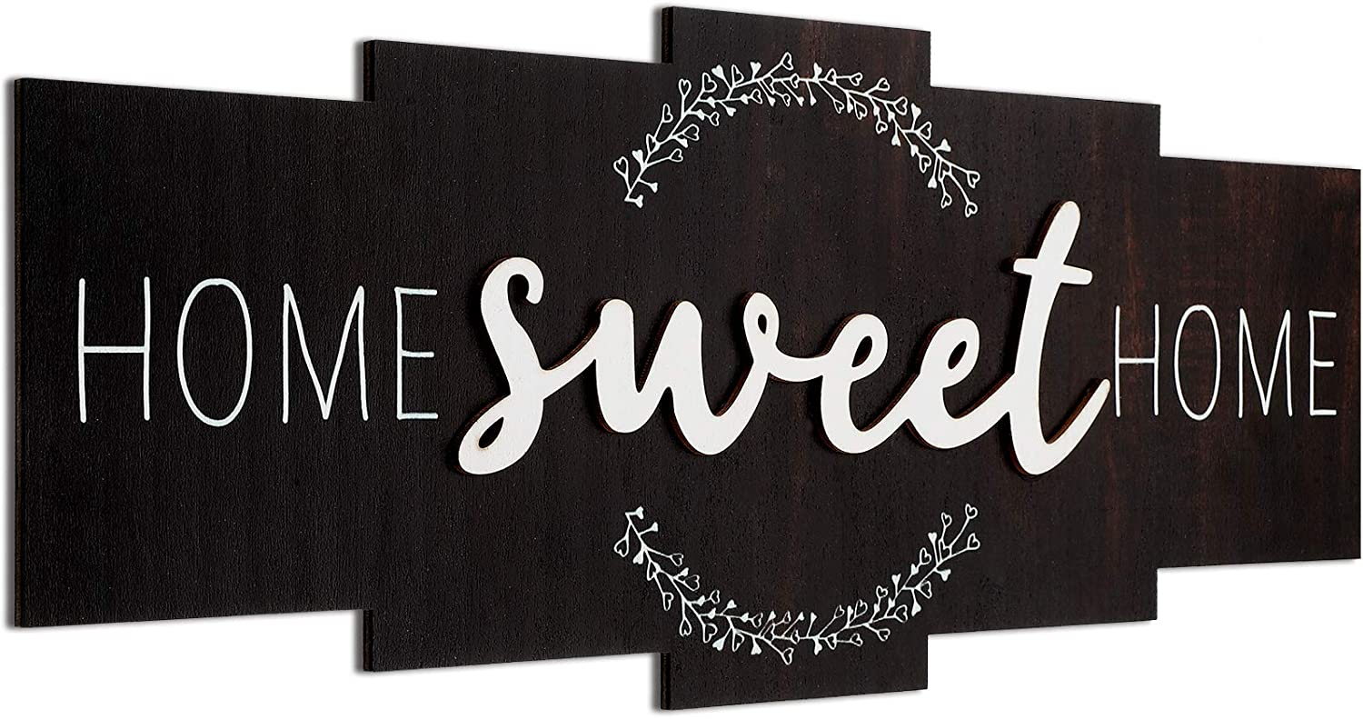 Home Sweet Home Sign, Rustic Wood Home Wall Decor, Large Farmhouse Home Sign Plaque Wall Hanging for Bedroom, Living Room, Wall, Wedding Decor (Dark Color)