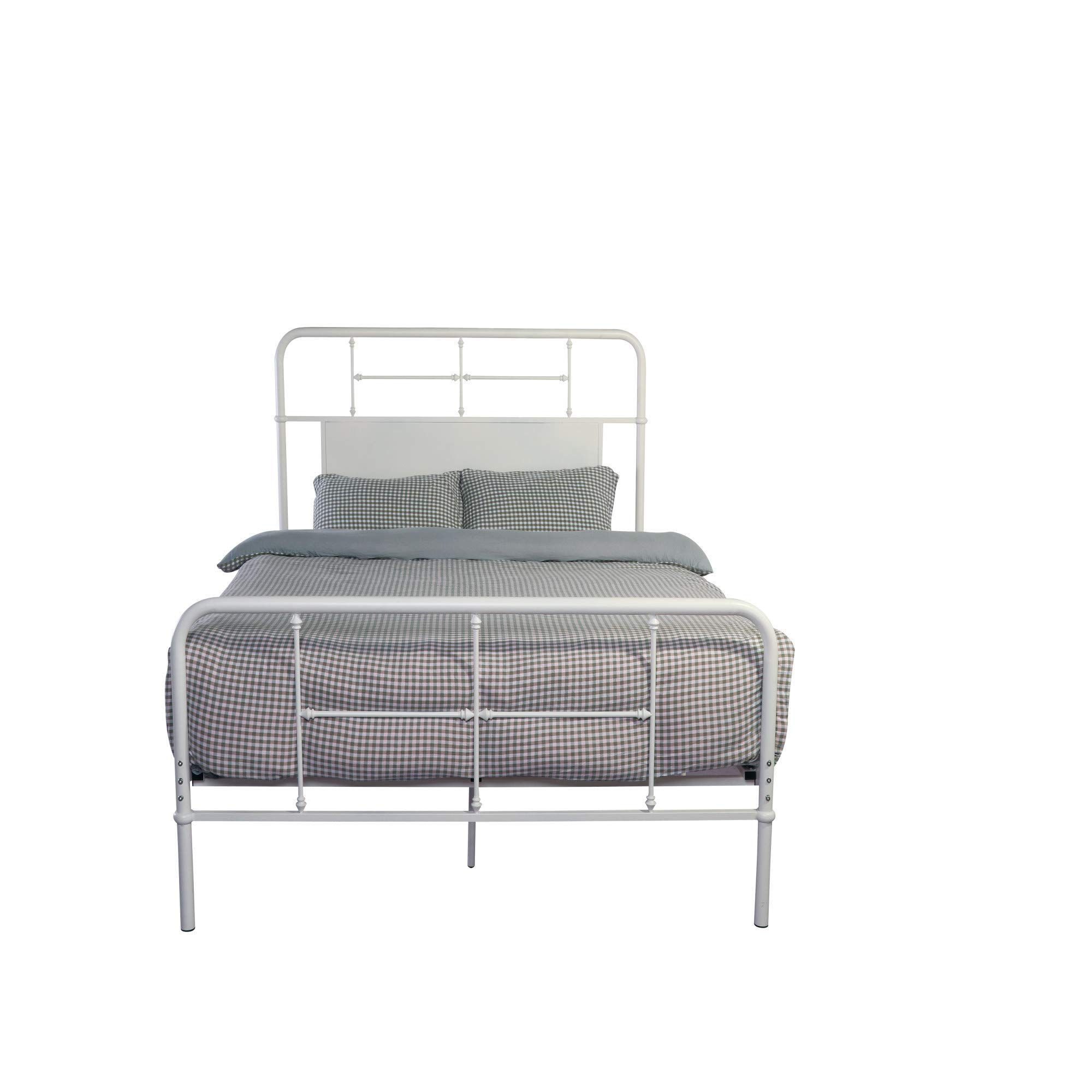Brisbane Twin Metal Bed in Mountain Peak White with Solid Headboard Panel, by Artum Hill