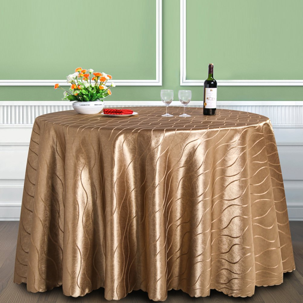 Hotel restaurant tablecloths Brown stripe round tablecloth-A diameter280cm(110inch)