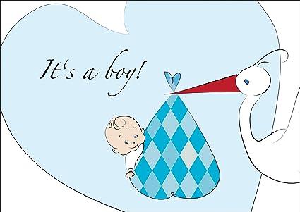 De Luxe Rose ou Bleu Nouveau bébé garçon Naissance Annonce Cartes Enveloppes