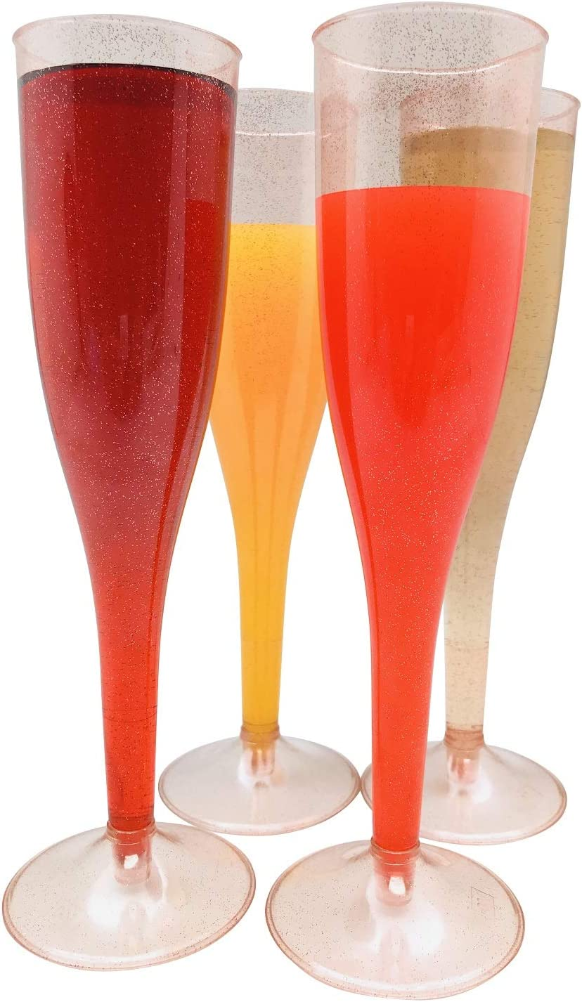 1 Box = Quantity 30 Rose Gold Glitter Plastic Classicware Glass Like Champagne Wedding Parties Toasting Flutes
