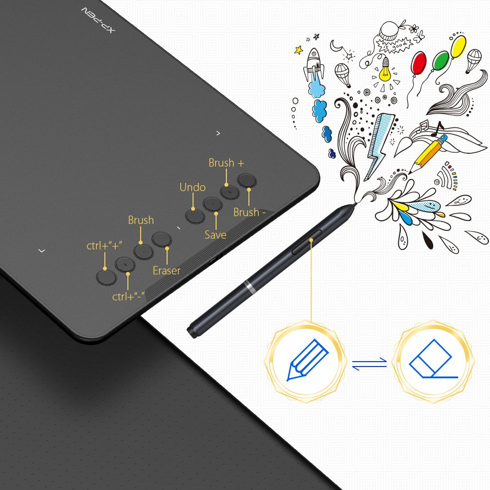 XP-Pen Deco01 Professional Graphic Drawing Tablet with 8192 levels Stylus  and 8 Shortcut Keys