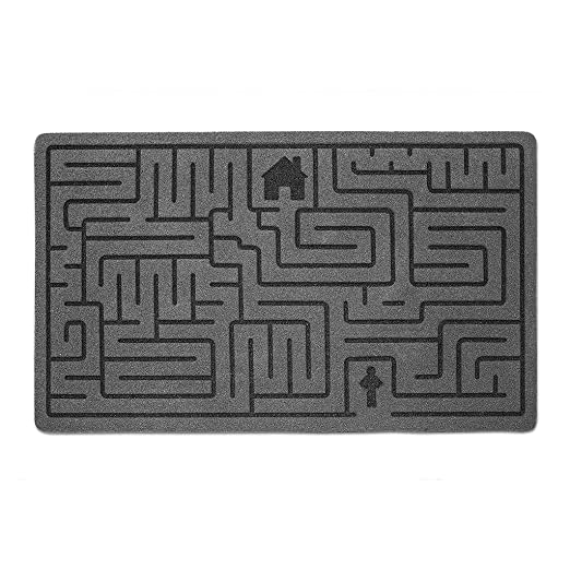 Balvi Felpudo Labyrinth Color Gris Alfombra con Dibujo de Laberinto Poliéster/plástico PVC 41 x 70 cm