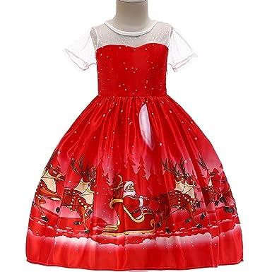 Amazon.com: ZHWZ Vestido de Navidad para niñas, vestido de ...