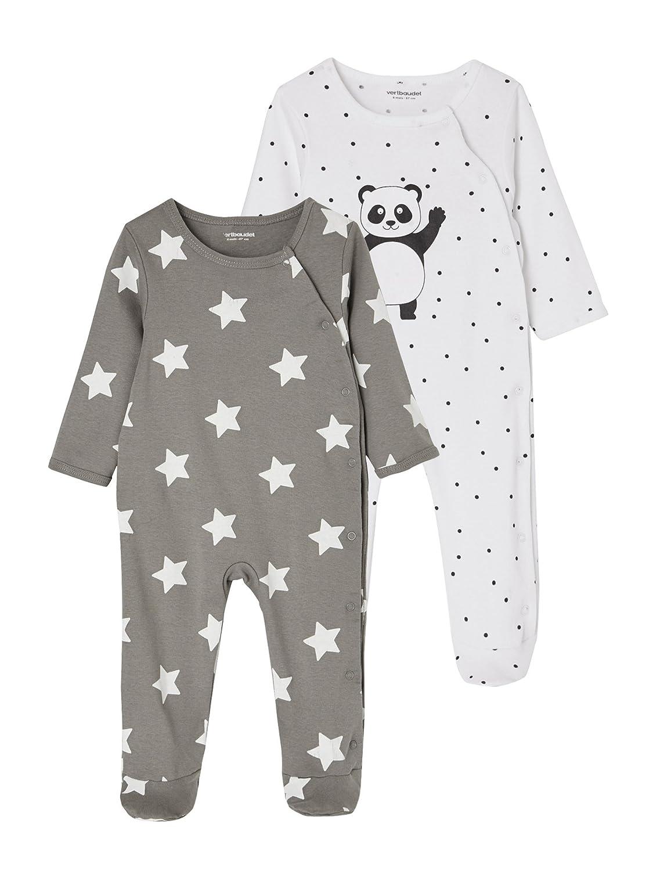 1daac20f86c3a VERTBAUDET Lot de 2 pyjamas bébé coton pressionné devant Gris + blanc 1M -  54CM  Amazon.fr  Bébés   Puériculture
