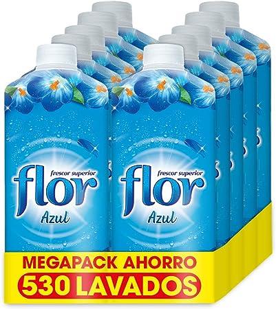 TALLA 1.06 l (Paquete de 10). Flor - Suavizante para la ropa concentrado, aroma azul - Pack de 10, hasta 530 dosis