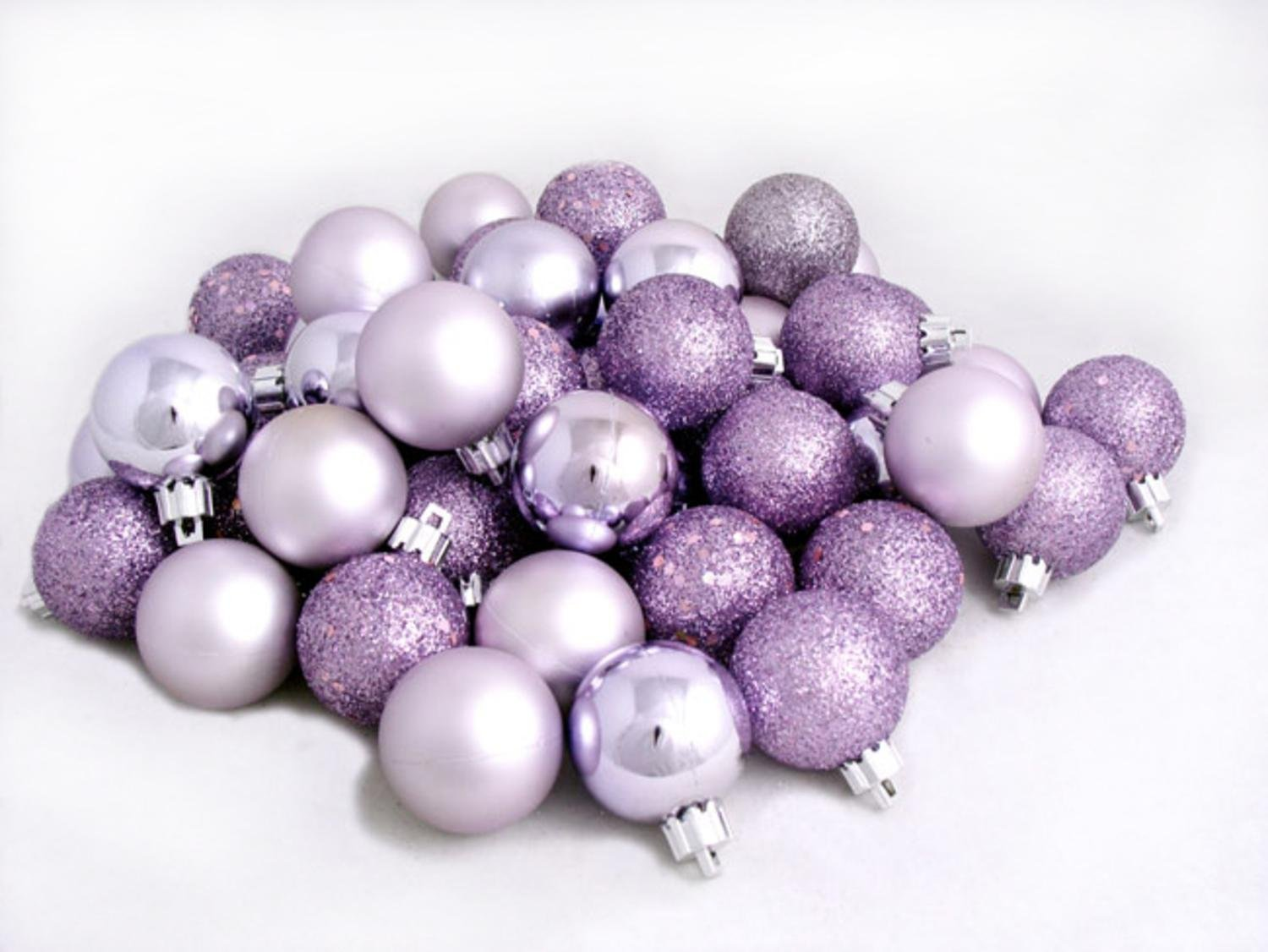 amazoncom 96ct purple lavender shatterproof 4 finish christmas ball ornaments 15 40mm home kitchen