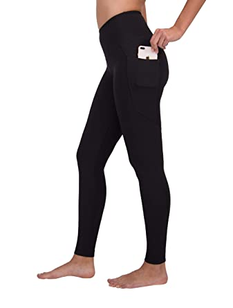 0749fa12221a8 90 Degree By Reflex High Waist Soft Compression Yoga Leggings with Phone  Pockets - Black - Medium at Amazon Women's Clothing store: