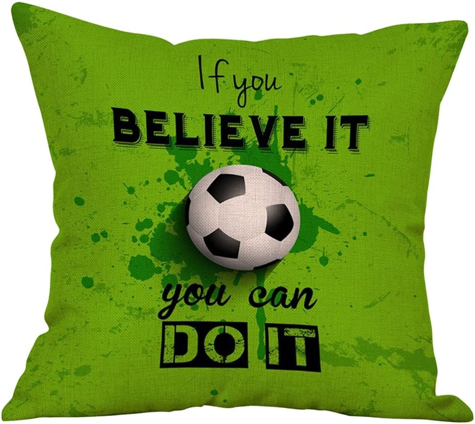2# pu ran Football Letters Pillow Case Home Cafe Sofa Decorations Cushion Cover
