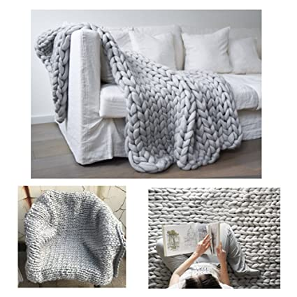 Amazoncom Chunky Wool Blanket Hat Blanket Crochet Arm Kniting Bed