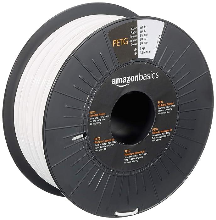 AmazonBasics PETG 3D Printer Filament, 2.85mm, White, 1 kg Spool
