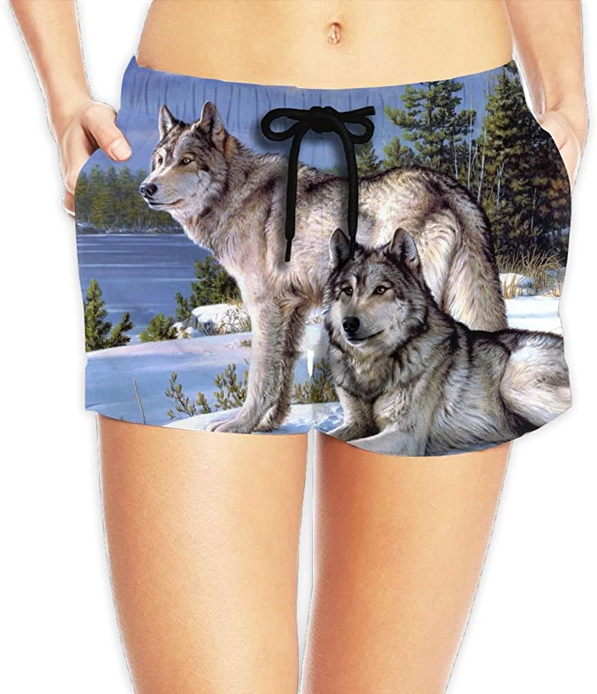 Womens Wolfs in The Snow Beautiful Winter Painting Quick Dry Fashion Casual Beach Board Shorts Swim Shorts