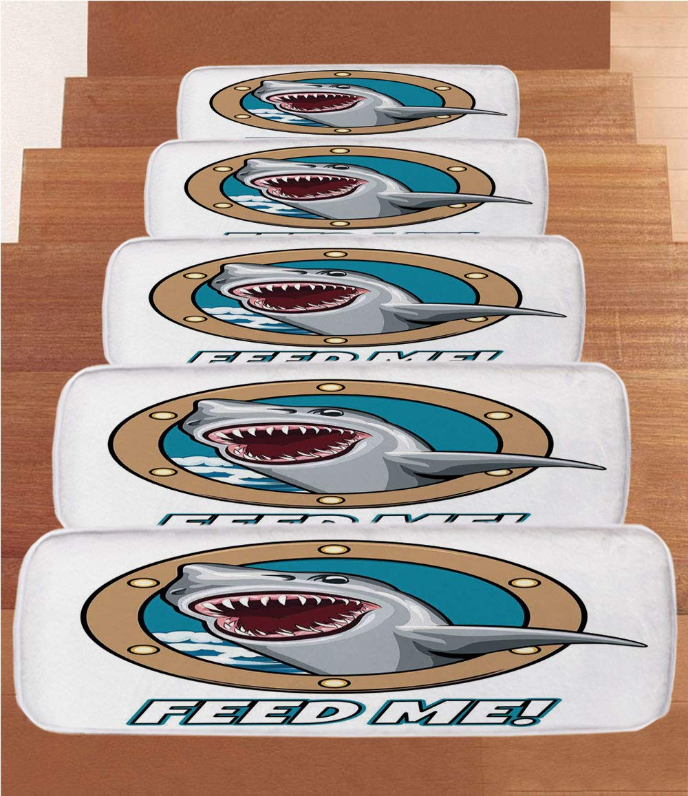 Non-Slip Carpets Stair Treads,Sea Animal Decor,Funny Vintage Quote with Hungry Hound Shark Head in Ship Window Humor Print,Multi,(Set of 5) 8.6''x27.5''