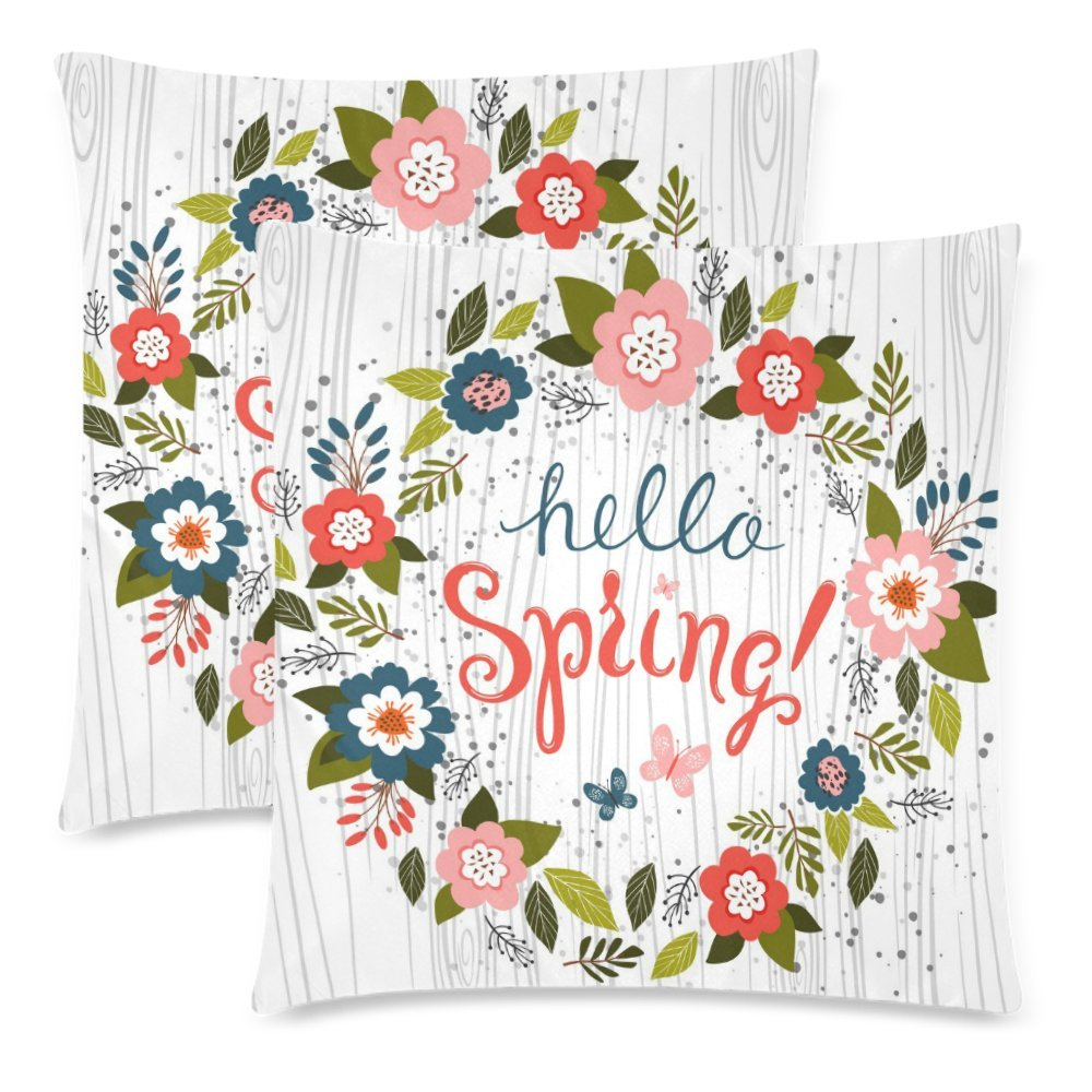 InterestPrint Hello Spring with Wood Throw Pillow Cover Cushion Case 18x18, Flower Wreath Funny Cotton Pillowcase Set for Couch Sofa Home Decorative, Set of 2