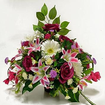 Halle Künstliche Blumen Grabe lila pink Friedhof Memorial ...