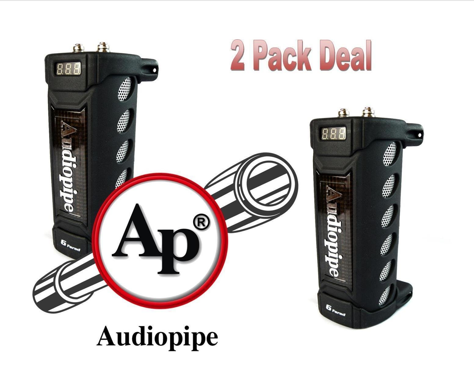 2 Pack Audiopipe ACAP-6000 6 Farad Digital Power Capacitor Car Audio Amplifier by Audiopipe