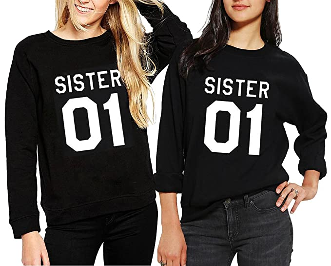 Pullover Lunga Felpe Best Autunno Sister Friends Ziwater Manica edorCxWB