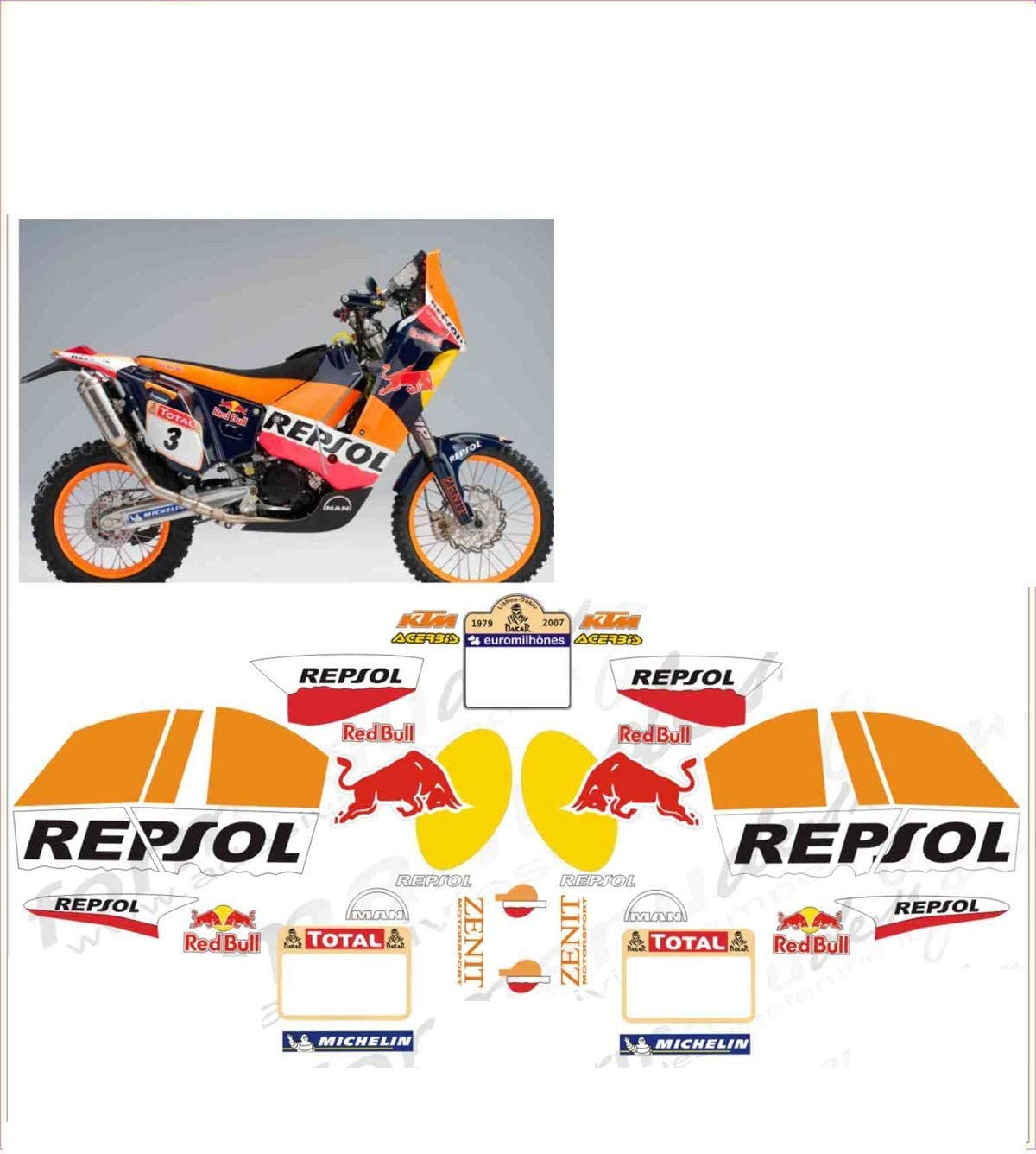 GRAPHICSMOTO set pegatinas decal stickers compatible 690 repsol rally toro (ability to customize the colors): Amazon.es: Coche y moto
