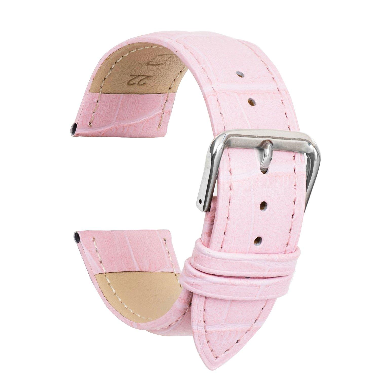 Ullchro 腕時計ストラップ 本革 縁ステッチ 竹柄– 12 14 16 18 19 20 21 22 24 mm 18mm ピンク B077M8ZSQM 18mm|ピンク ピンク 18mm