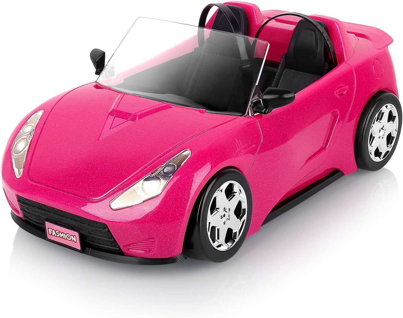 Super Joy Dolls Accessories - Convertible Car for Dolls (Great for Barbie Dolls) Glittering Pink Convertible Doll Vehicle