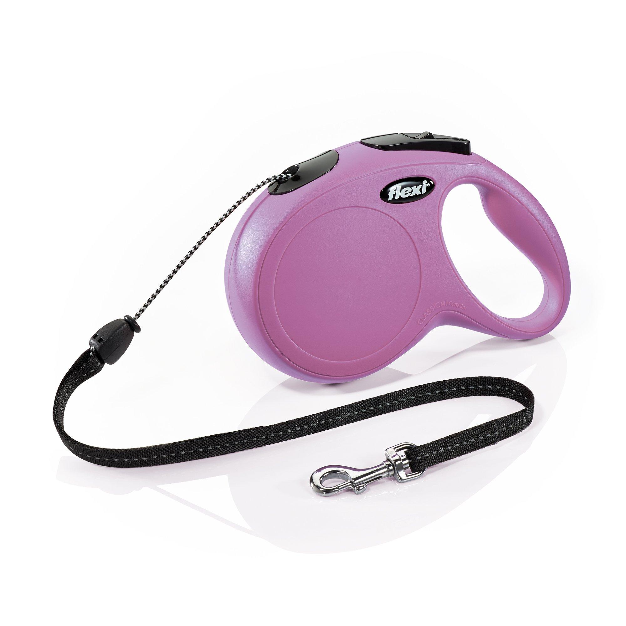 Flexi New Classic Retractable Dog Leash (Cord), 26 ft, Medium, Pink