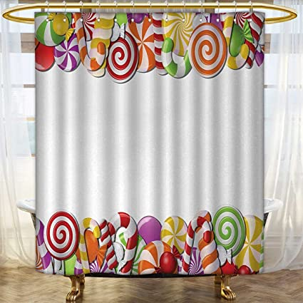 Anhounine Candy Cane Shower Curtains Waterproof Long Festive And Fun Framework With Colorful Cartoon Sweet Snacks