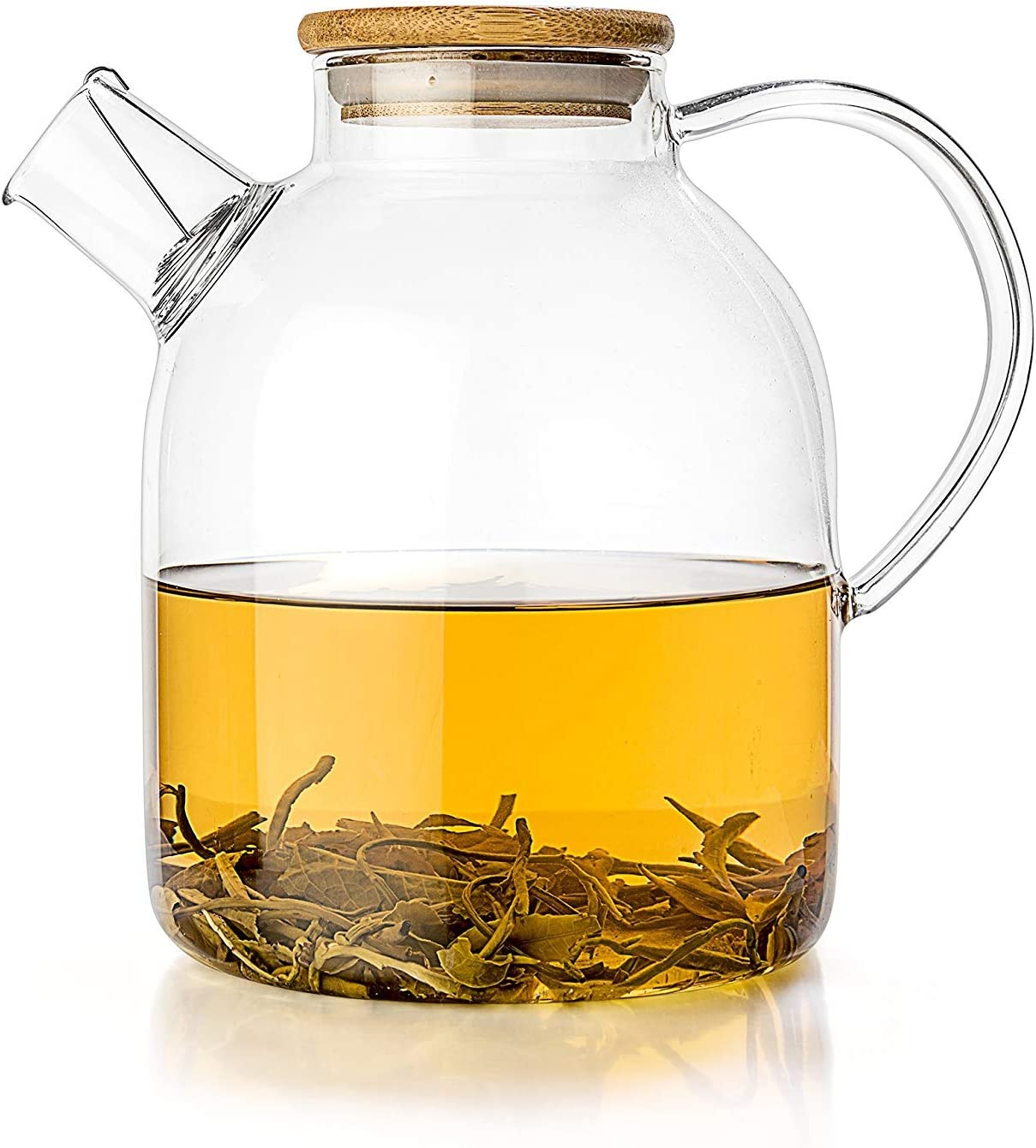 NATURE'S MARKET : Glass Kettle 34-ounce - Stove-top Safe - Heat Resistant Borosilicate - Pitcher - Carafe - Teapot - No-Dripping - Great For Tea Juice Water - Hot and Iced - Bamboo Lid - Filter Spout