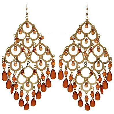 Amazon huge chandelier dangle earrings with imitation amber huge chandelier dangle earrings with imitation amber drops boho gorgeous in amber with aloadofball Image collections