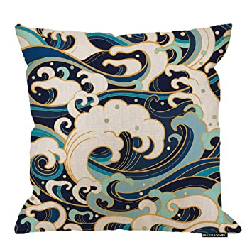 Amazon.com: HGOD DESIGNS Waves Throw Pillow Cushion Cover ...