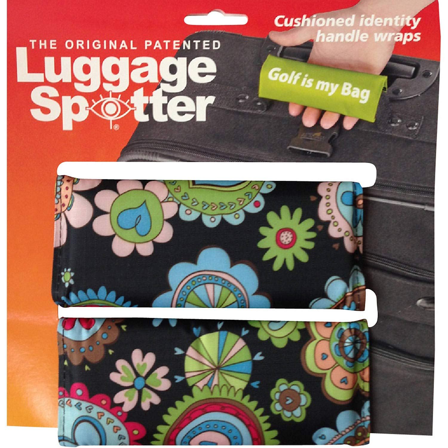 FLOWERS Luggage Spotter® Luggage Locator/Handle Grip/Luggage Grip/Travel Bag Tag/Luggage Handle Wrap (2 PACK) - ONLY A FEW LEFT! by Luggage Spotter