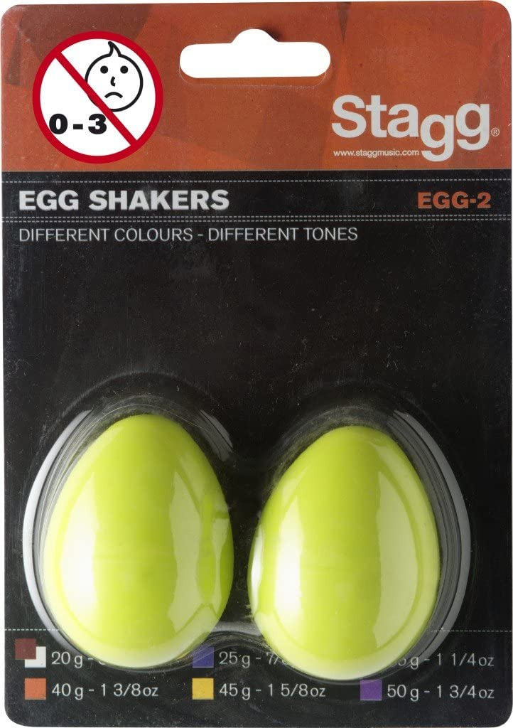 Green Stagg EGG-2 GR Plastic Egg Shaker Pair