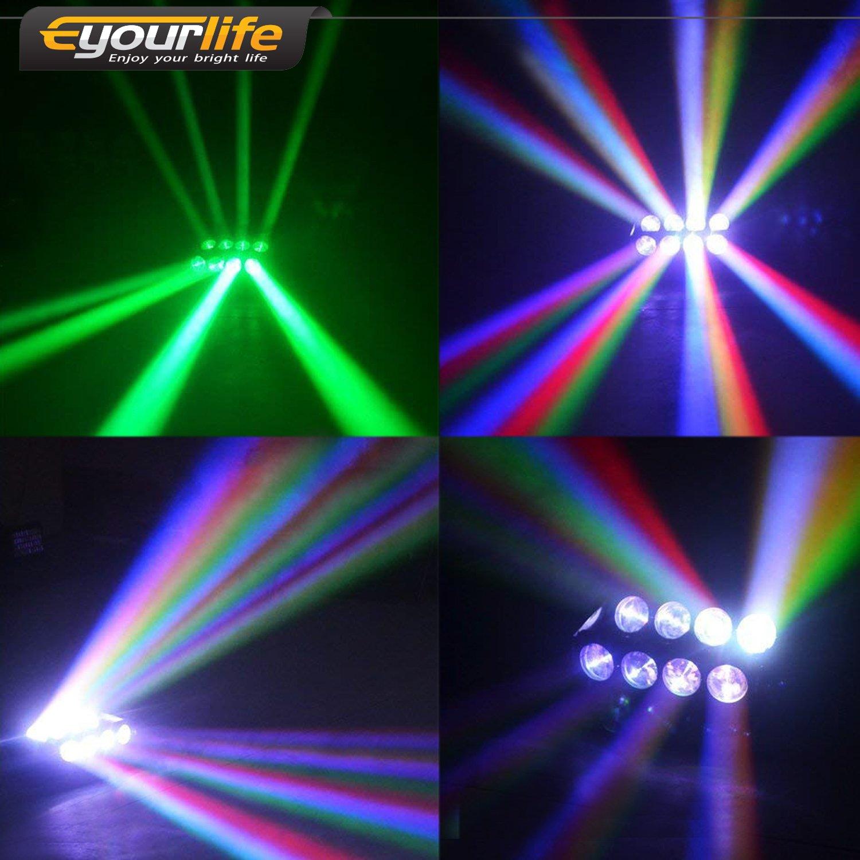 Eyourlife 8pcs 8X10W LED RGBW DMX 512 Stage Spider Moving Head Light 4in1 Uplights Par Lights DJ Disco Lighting Party Dj Lights for Christmas Parties ...