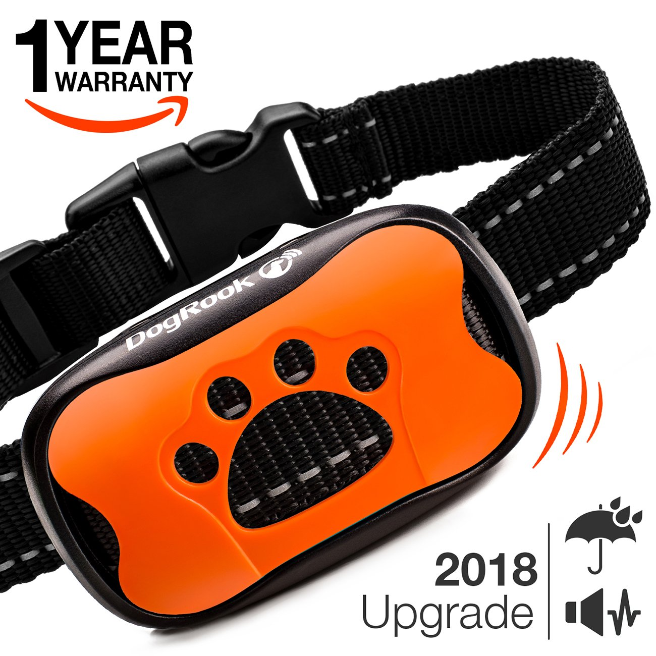 Dog Bark Collar Upgrade 2018 - Vibration No Shock Collar - Humane Anti Bark Training Collar - Stop Barking Collar for Small Medium Large Dogs - Best No Bark Control Collar - Pet Safe Waterproof Device