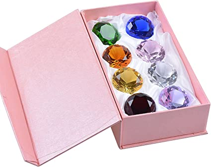 Crystal Diamond Paperweight Birthstone Table Decorations Multicolor Gift Packing 1.2 inch LONGWIN 30mm