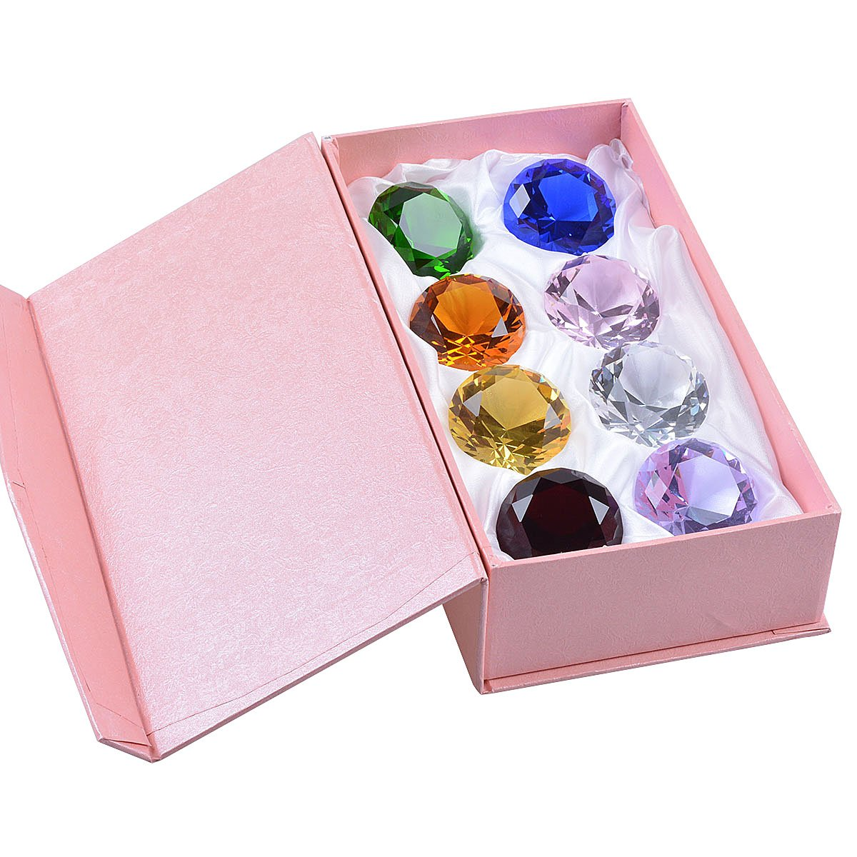 LONGWIN 50mm (2 in.) Crystal Diamond Paperweight Birthstone Table Decorations Multicolor Gift Box Packing