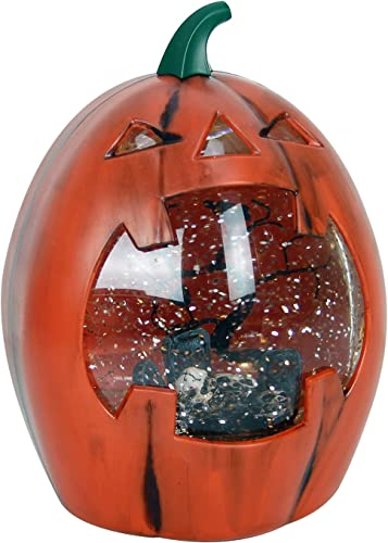 GMT-10317 Jack-O-Lantern Led Lighted Pumpkin Halloween Snow Globe – Battery Operated Swirling Water Glitter Globe for Halloween Home Decor Table Light