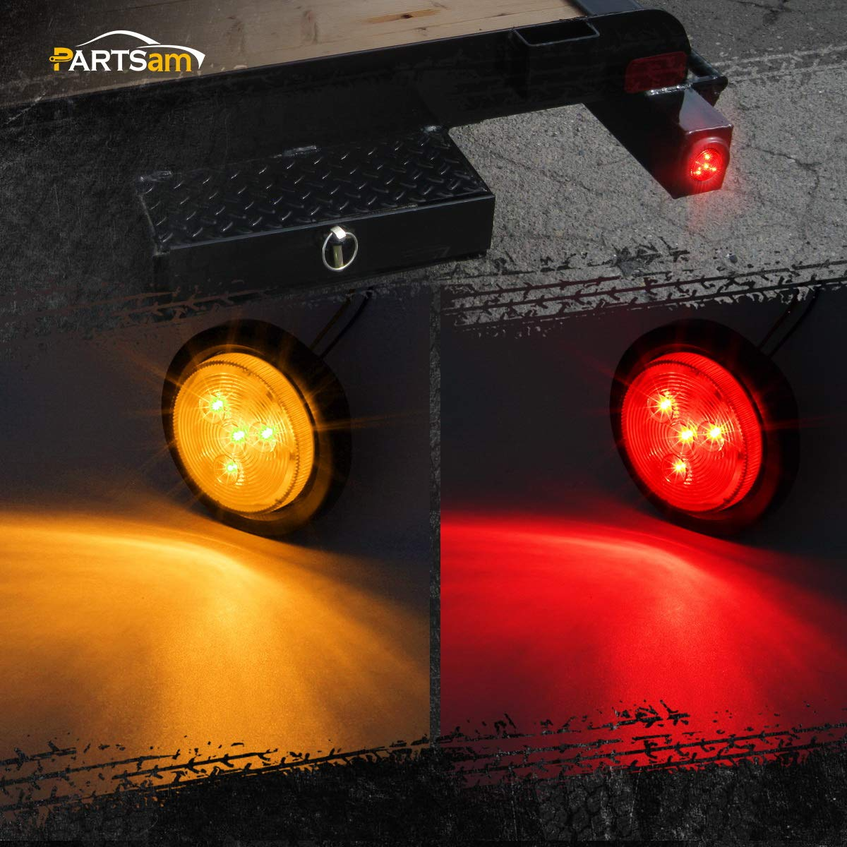 Partsam 2 Amber Red Truck Trailer 25 Round Side Led Clearance Marker Light With Reflector Wire 4led 12v Automotive